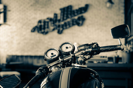 Cafe racer triumph black white sepia coffee