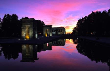 sunset landscape of templo de debod in Madrid Spain