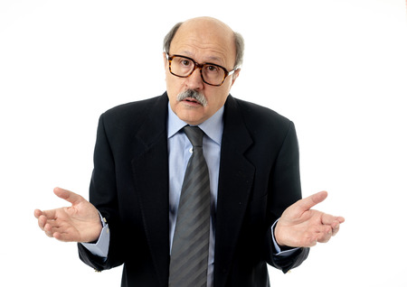 Portrait of senior mature old businessman looking overwhelmed and depressed suffering at work in sad Face expression Overworked Overtime and Aging concept isolated on neutral background.