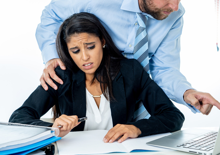 Uncomfortable scared woman being harass by her boss at office in Sexual harassment at work place, women rights, sexual abuse concept isolated in white background.