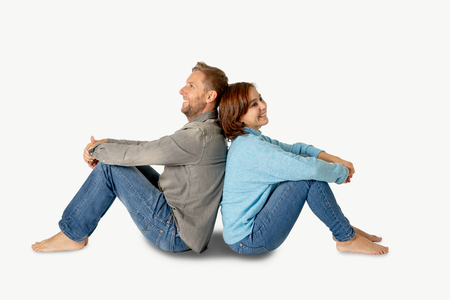 Happy couple isolated on white background with copy space Thinking and Planning wealthy future together in Love, Buying First house, having Child Baby and family financial well-being concept. 写真素材