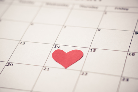 Saint valentine. 2019 february out of focus calendar and focus red heart on the 14th, blur romantic light in getting ready for Valentines day date, Love celebration, dreams and romantic concept.