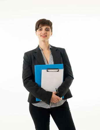 Half length portrait of a beautiful caucasian businesswoman smiling and holding folder and paperwork standing isolated on a white background. Business and entrepreneur successful women
