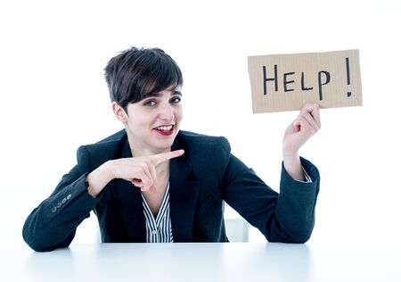 Beautiful business woman feeling overwhelmed and desperate asking for help looking frustrated and upset isolated in white background. In psychological Stress in working woman and frustration concept.