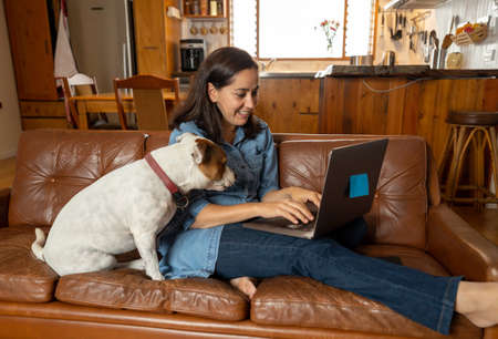 Working from home. Woman on sofa with cute pet dog using laptop on video conference with work team during coronavirus Outbreak and social distancing. Positive image of life at home and new normal.