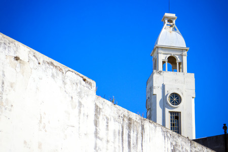 montevideo: White Church Steeple in Montevideo, Uruguay