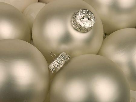 silver christmas ornaments Stock Photo