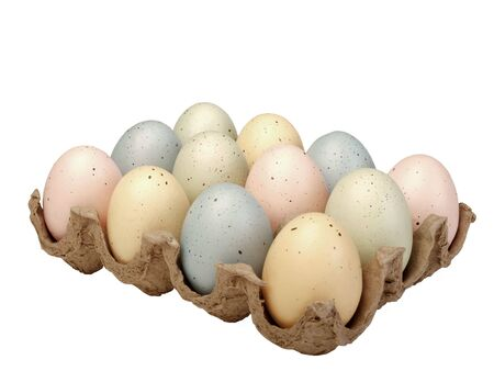 Painted eggs in carton