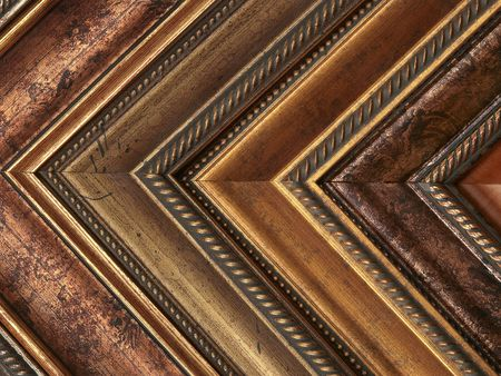 custom home: Picture frame samples gold and bronze Stock Photo