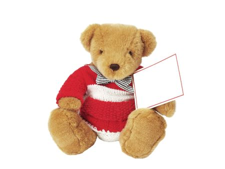 teddy bear holding a blank card isolated on white background Stock Photo