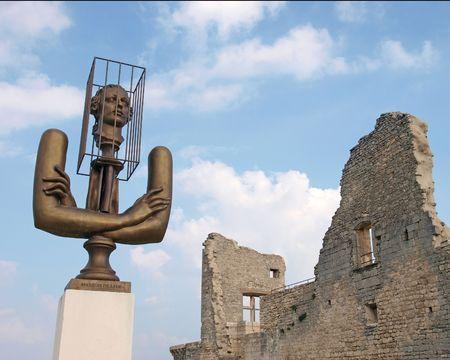 castle ruins of Marquis de Sade, Lacoste, France     Stock Photo