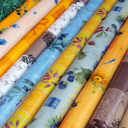 Material rolls at a market in Provence