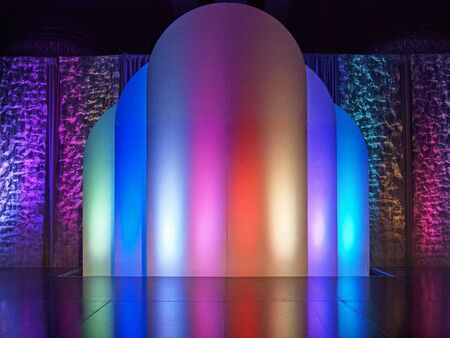 colorful illuminated stage background Stock Photo