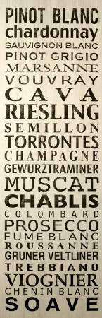 wijn namen op bord