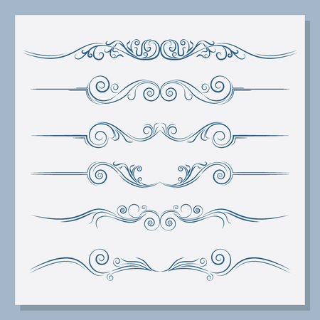 Set of vintage dividers. You can use it for text, postcards. Vector illustration. Vetores