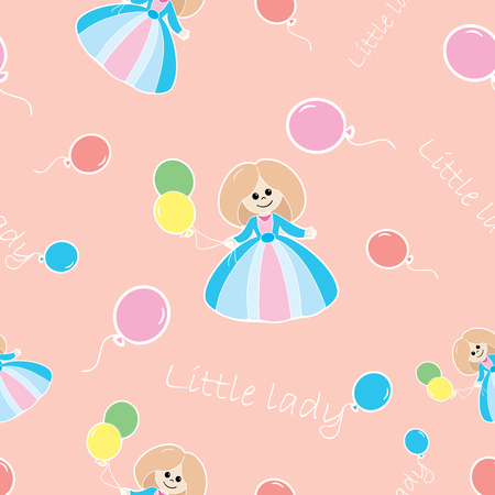 Seamless fabric pattern for the little lady. It can be used for paper, card, invitation.
