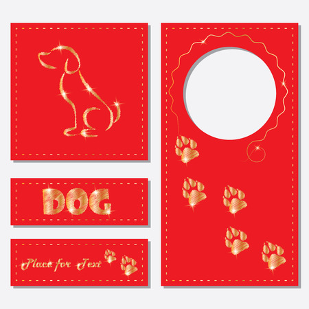 A set of postcards, labels with a picture of a dog, prints of a dog s paws. Embroidery.