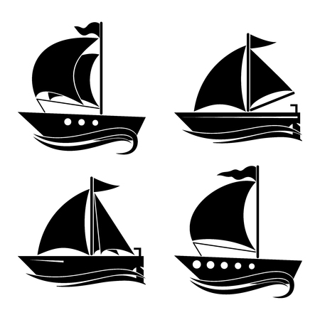 A set of icons of yachts. Decor for your ideas. 向量圖像