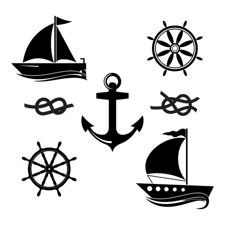 A set of icons of a yacht, a helm, a sailboat, a rope.