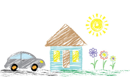 Children s drawing pencil with a picture of a house, a car. It can be used as a background, wallpaper, for decoration. Vector