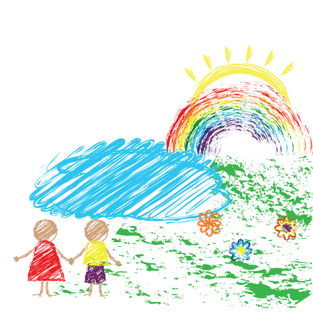 Children s drawing pencil with the image of children and the rainbow. Vector Illustration