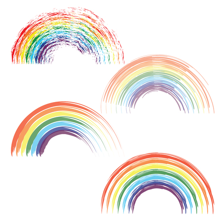 Rainbows in different shape realistic set on transparent background isolated vector