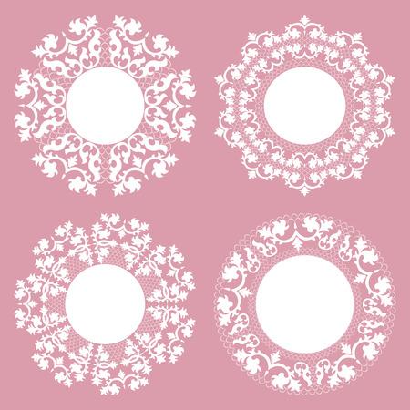 Vintage Lace Doily Set, Place Mat, Paper Cutout