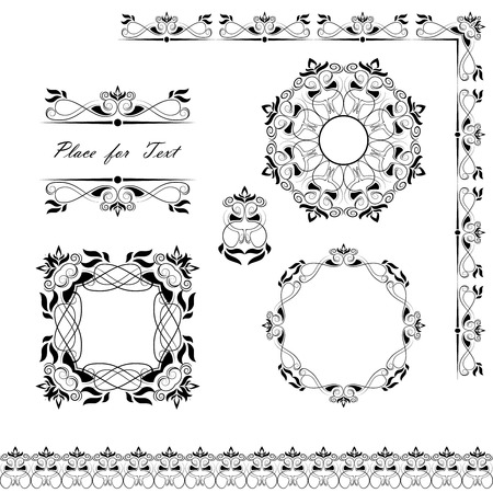 A set of napkins, frames, ribbons and sections