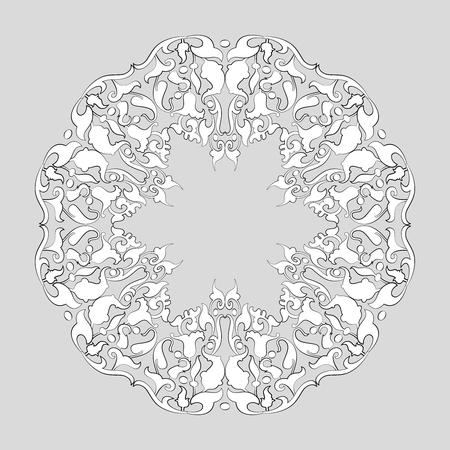 Round tracery napkin. Lace round frame