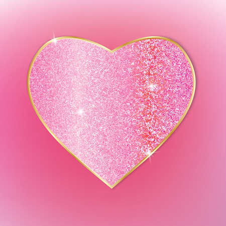 Beautiful heart. Glitter texture. For background, card decoration Vector illustration Illustration
