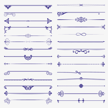 A large set of dividers. Vector set calligraphic design elements and page decoration. Vector illustration.