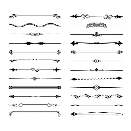 Collection of vector dividers. Can be used for design, letters, jewelry, gifts, notebooks. Vector illustration Vectores