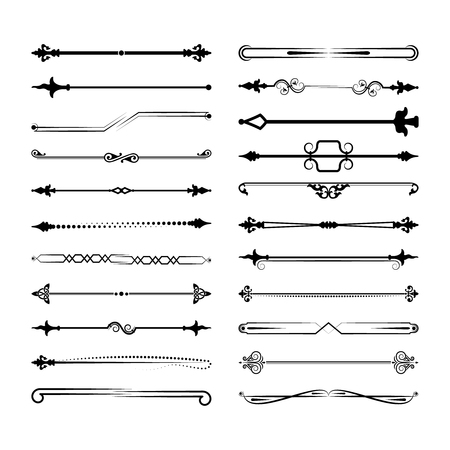 Collection of vector dividers. Can be used for design, letters, jewelry, gifts, notebooks. Vector illustration Çizim