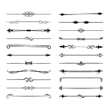 Collection of vector dividers. Can be used for design, letters, jewelry, gifts, notebooks. Vector illustration