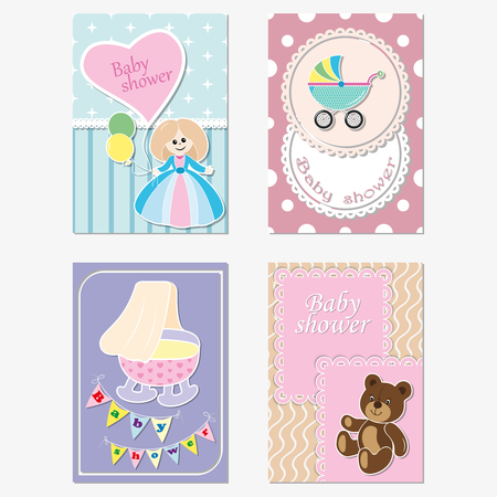 A set of children s greeting cards, invitations. Vector Illustration
