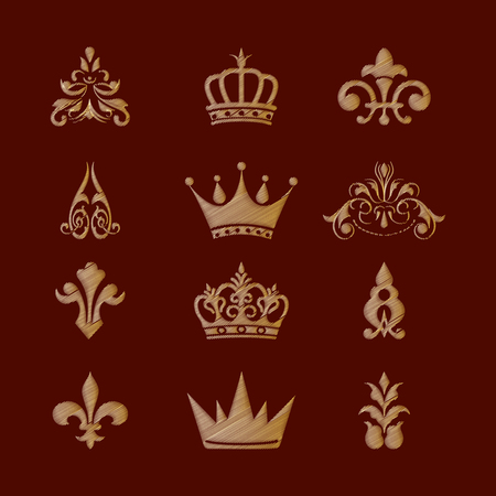 Set of royal symbols and design elements. Imitation of embroidery.