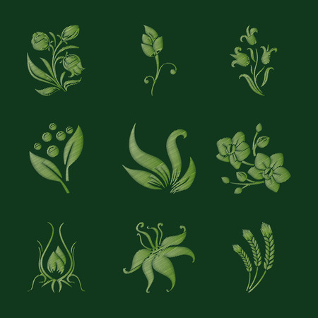 Set of isolated flowers. Imitation of embroidery. Vector illustration.