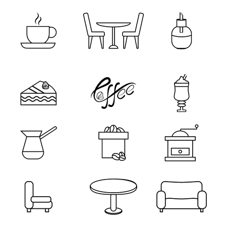 Set of black vector icons, isolated against white background.