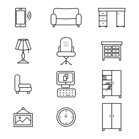 Set of furniture icons for the office. Flat vector illustration on white background. Universal icon for web design.