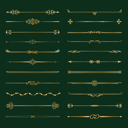 A large set of dividers. Vector set calligraphic design elements and page decoration. Vector illustration. Stock Vector - 124685919
