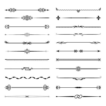 Un gran juego de separadores. Vector conjunto de elementos de diseño caligráfico y decoración de página. Ilustración de vector.