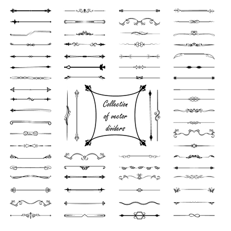 Calligraphic design elements. Dividers, frames of different shapes