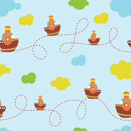 Children s background with the image of a ship, clouds. For use in design, textiles Illustration