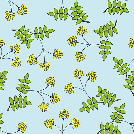 Children s seamless pattern with branches, leaves