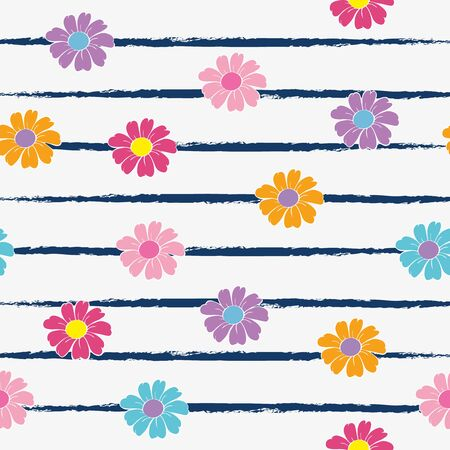 Abstract seamless floral pattern. White background and colorful flowers. Childrens cartoon style. Childrens background for textiles, clothes, wrapping paper.