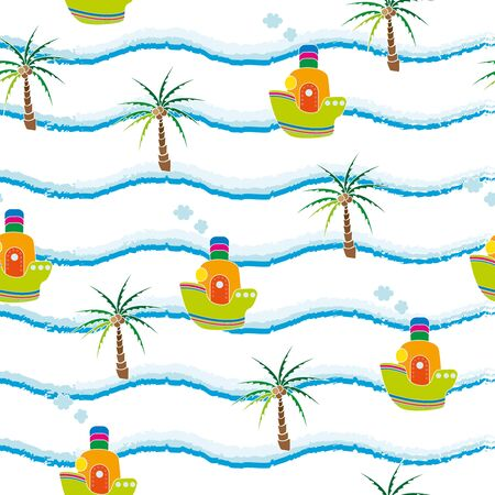 Childish seamless background with the image of palm trees and boats. Picture for textile and decor Illustration