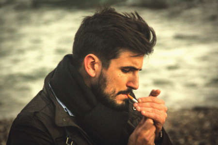 man: smoking man  Stock Photo
