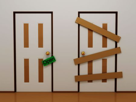 Door with tag open and boarded door.3D Stock Photo
