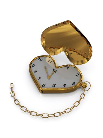 Gold heart-clock with chain. 3D