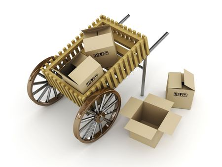 Cart with box on white background. 3D photo